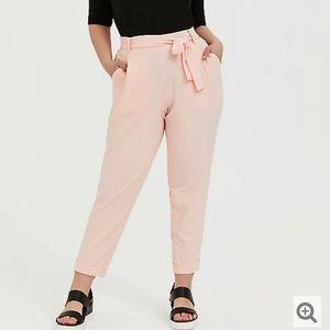 Torrid Peach Pink Crepe Self Tie Tapered Pants